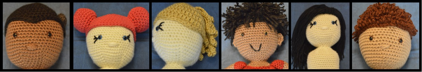 six deaf dolls with various hairstyles