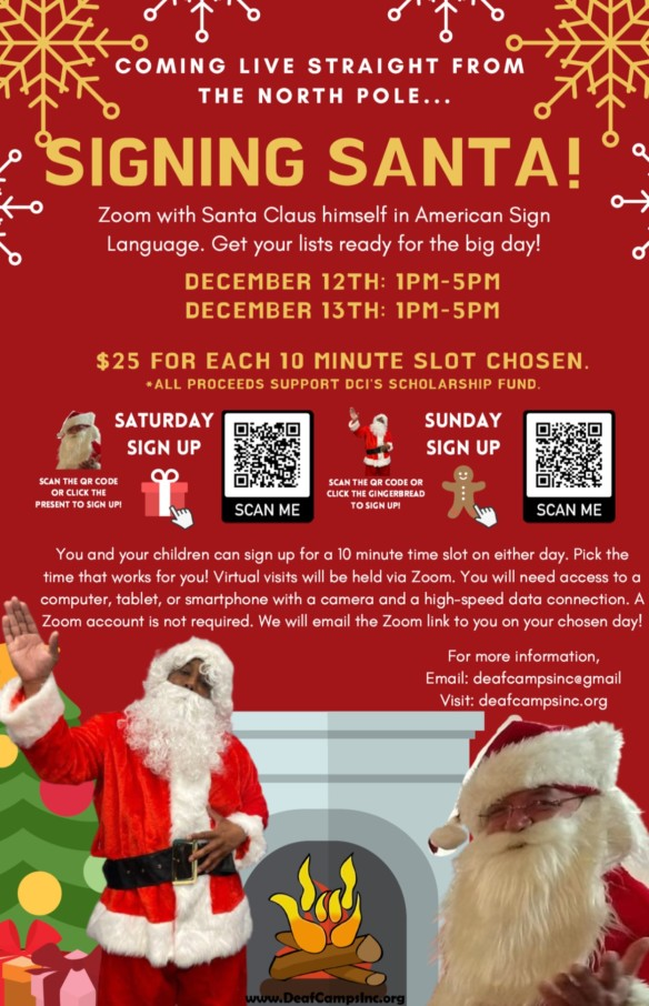 flyer for Signing Santa on Zoom